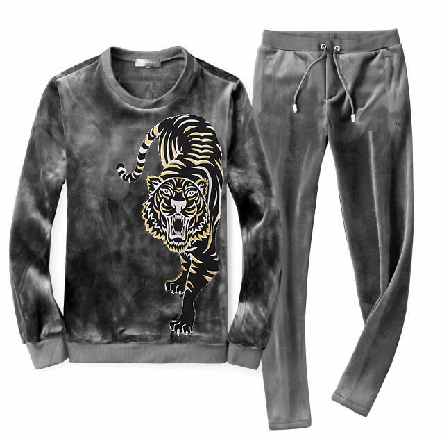 Men's Velour Velvet Sport Sweatshirt Tracksuit Track Suit Outwear 2PC Jacket Coat Pants Trousers Sets Outfits Tiger Print