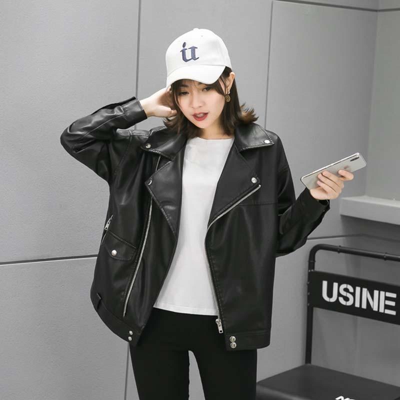 NiceMix 2019 Spring Autumn Moto Biker Faux   Leather   Short Jacket Womens Black Pu   Leather   Jacket Ladies Punk Loose Motorcycle Coat