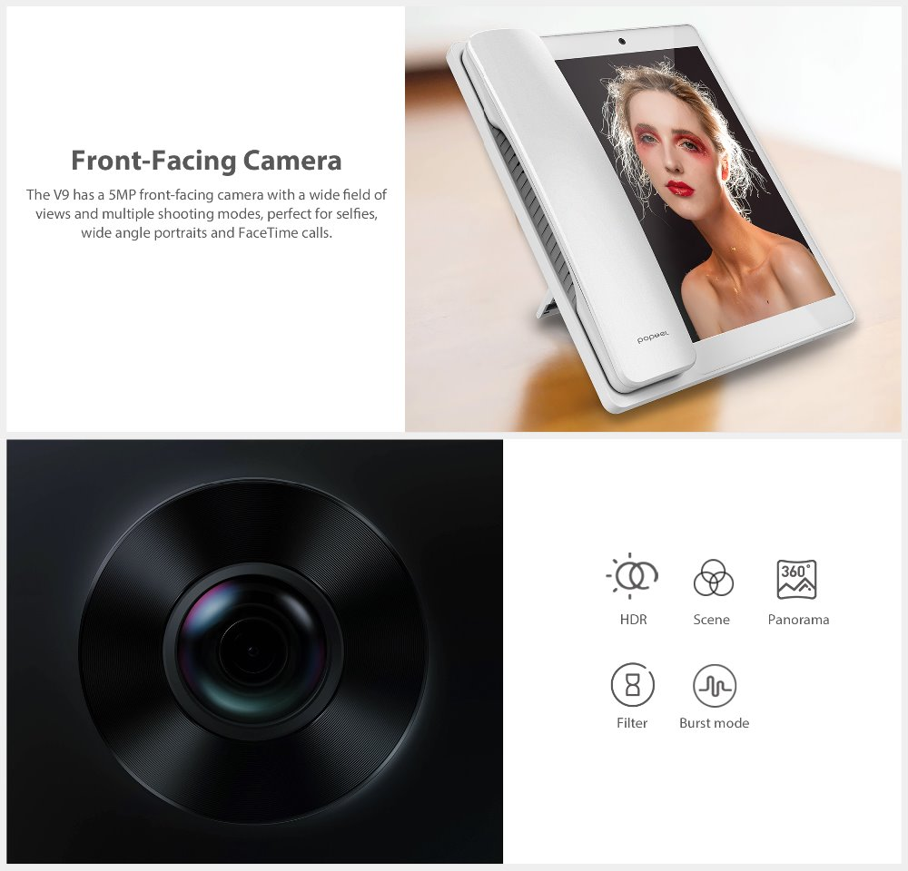 H81a034ef4f484e9b8fae42fccb1c1aadO - 2020 New Poptel V9 videophone 8 inch 2g/16g bluetooth handset for home and office  IOT device tablet phone support Google play