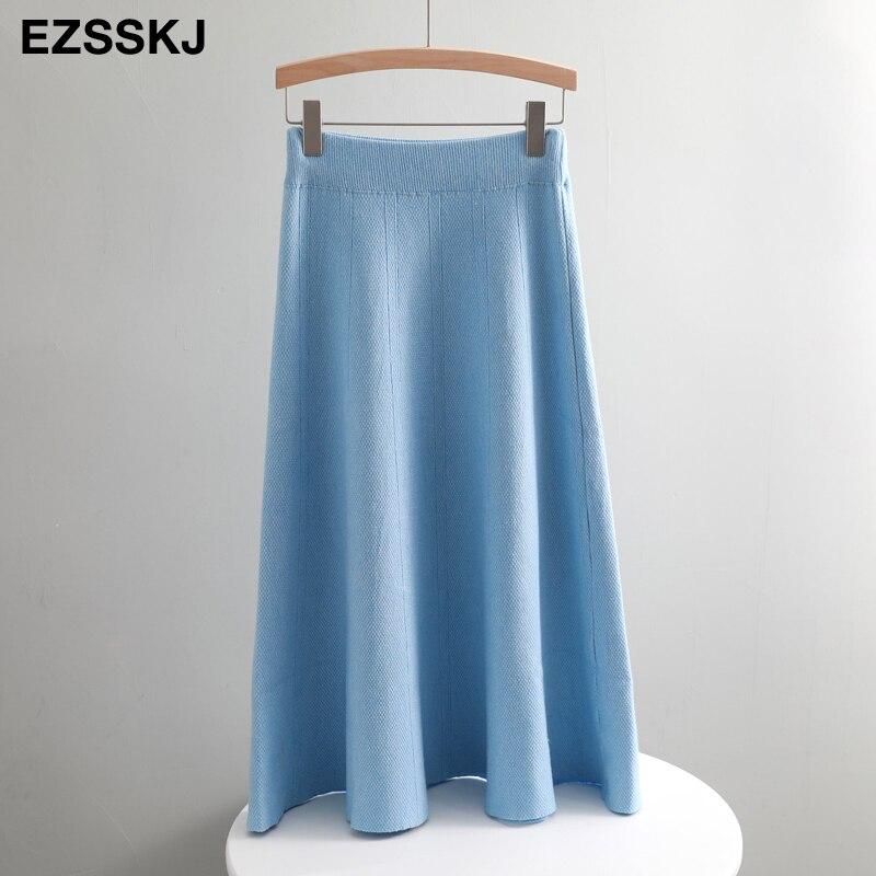 Винтажный осенне-зимний женский толстый свитер с зонтиком, юбка с высокой талией, трикотажная юбка средней длины, трапециевидная Женская однотонная элегантная юбка - Цвет: Небесно-голубой