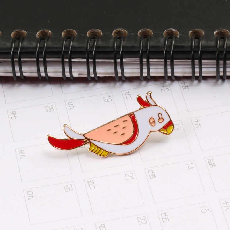 동물 핀 앵무새 만화 새 브로치 셔츠 스웨터 재킷 금속 옷 깃 핀 쥬얼리 브로치 배지 여성 남성 액세서리
