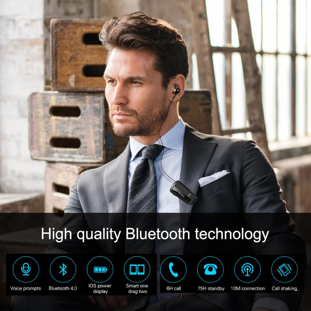 Fineblue F990 Newest Wireless business Bluetooth Headset Sport Driver Earphone Telescopic Clip on stereo earbud Vibration Luxury
