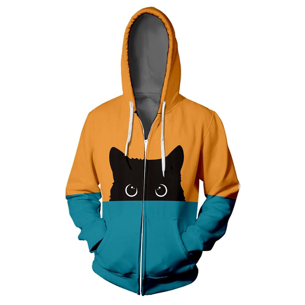 3D Print Kawaii Black Cat Womens//Mens Casual Sweatshirt Hoodies Pullover Tops