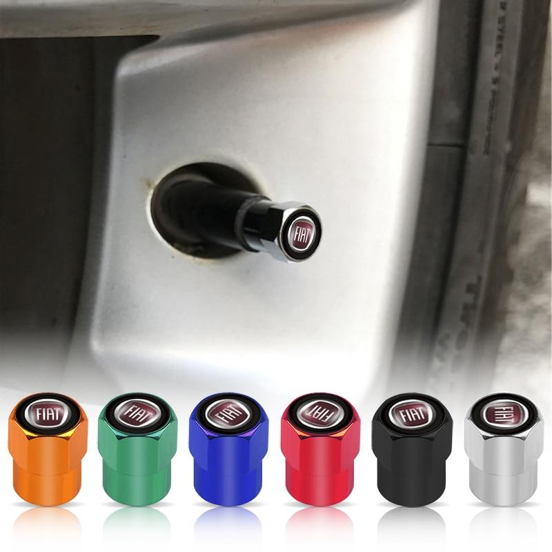 Aksesoris Mobil 4 Pcs Aluminium Alloy Emblem Mobil Ban Tutup Katup Udara Ban Berasal Caps untuk Fiat 500 Punto Bravo stilo Panda Abarth title=
