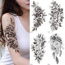 Waterproof Temporary Tattoo Sticker Black Rose Tattoo Fashionable Woman Tattoo Body Tattoo Sticker Full Flower Arm Tattoo TATY