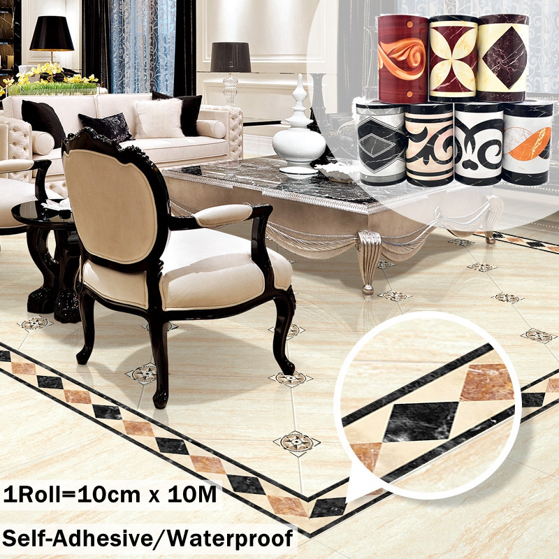 10M Wall Sticker PVC Self Adhesive Stickers for Tile Floor and The Foot of Wall Home Decorations Wide 10cm Waterproof Wearproof