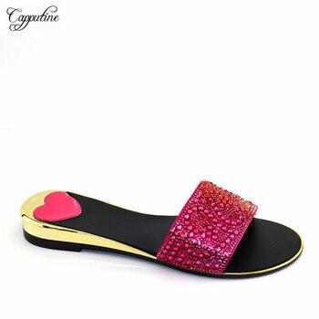 Dość afrykańska w kolorze fuksji pani dolny obcas pantofel buty z dżetów na imprezę CR2120 wysokość obcasa 2.5CM
