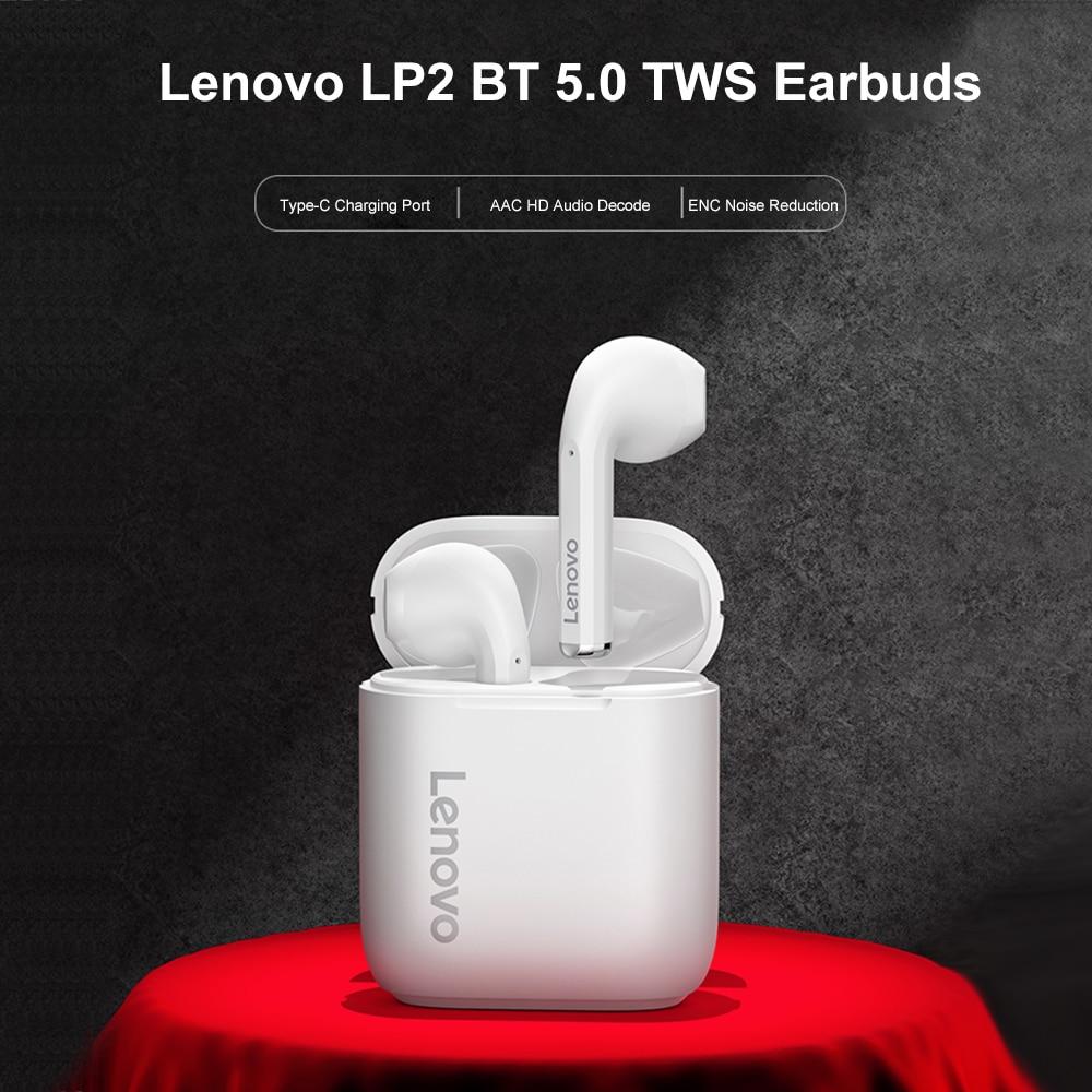 Lenovo LP2 наушники-вкладыши TWS True Wireless Bluetooth наушники IPX5 Беспроводной связи Bluetooth устойчивое спортивные Гарнитура шумоподавления наушники с мик...