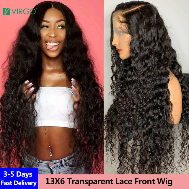$ US $50.96 Virgo 28 30 inch Brazilian Water Wave Lace Front Wig 13X6 Transparent HD Lace Front Human Hair Wig for Women 4X4 Closure Wig