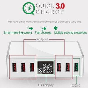 Image 5 - Qc 3.0 usb 電話充電器 6 ポート急速充電スマート lcd デジタル表示の多ポート旅行充電器リワークステーションクイック充電器