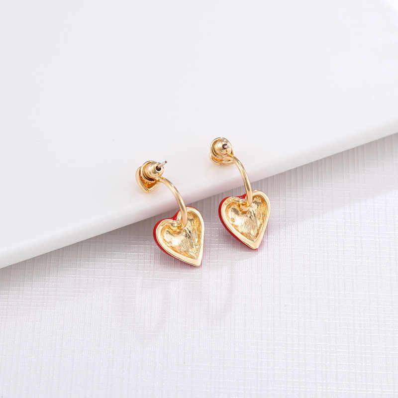 Крыло ЮК так Мода Корея красное сердце серьги для женщин изысканные маленькие серьги-гвоздики подарок на Новый год