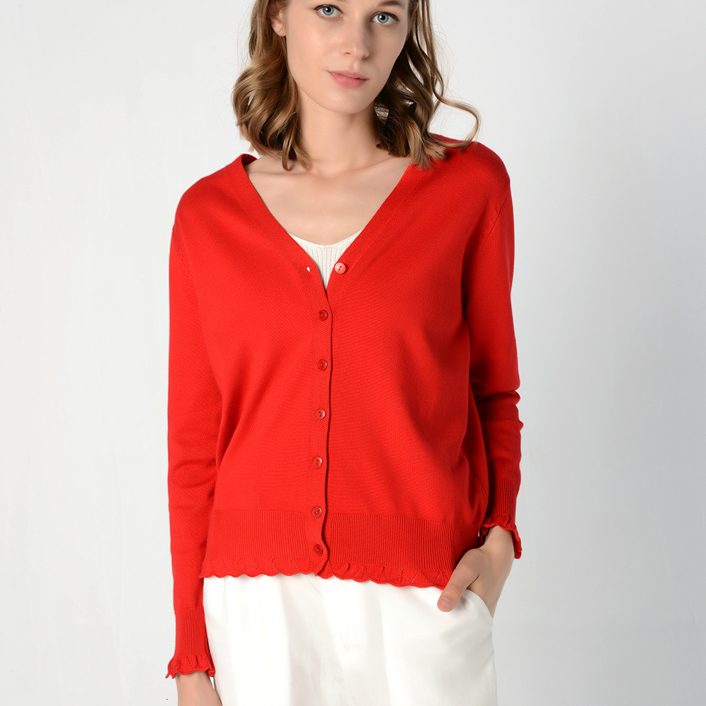 New Autumn Women Short Fund V-neck Full Sleeve Cardigan Ladies Single-breasted Plain Color Knitted Outwear Fashion Robe Femme