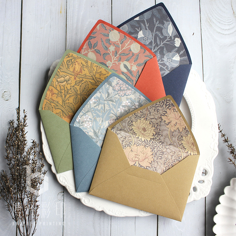 5pcs/pack Luxury Original Design Retro Flower Envelopes With Lining European Style Envelope For Card Scrapbooking Gift