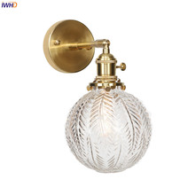 IWHD Nordic Style Glass Ball Wall Light Fixtures Switch Bedroom Living Room Mirror Copper Wall Lamp Sconce Aplique De Pared