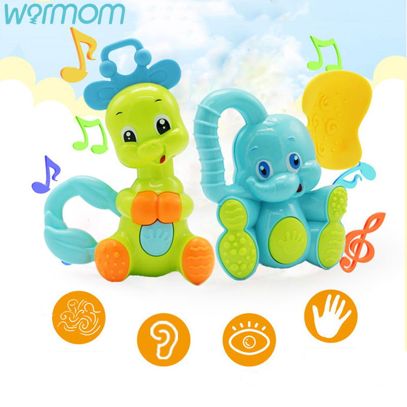 WARMOM Safe Baby Teether Toy Cartoon Animal Musical Toy Smart Early Education Children Toy Deer Elephant Shape ABS Safe Material
