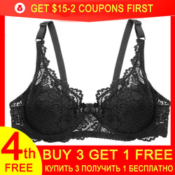 Sexy Lace Bra for Women Push Up Bras Straps Adjustment Lingerie Female Underwear Ladies Underwire Brassiere Big Plus Size 36-44