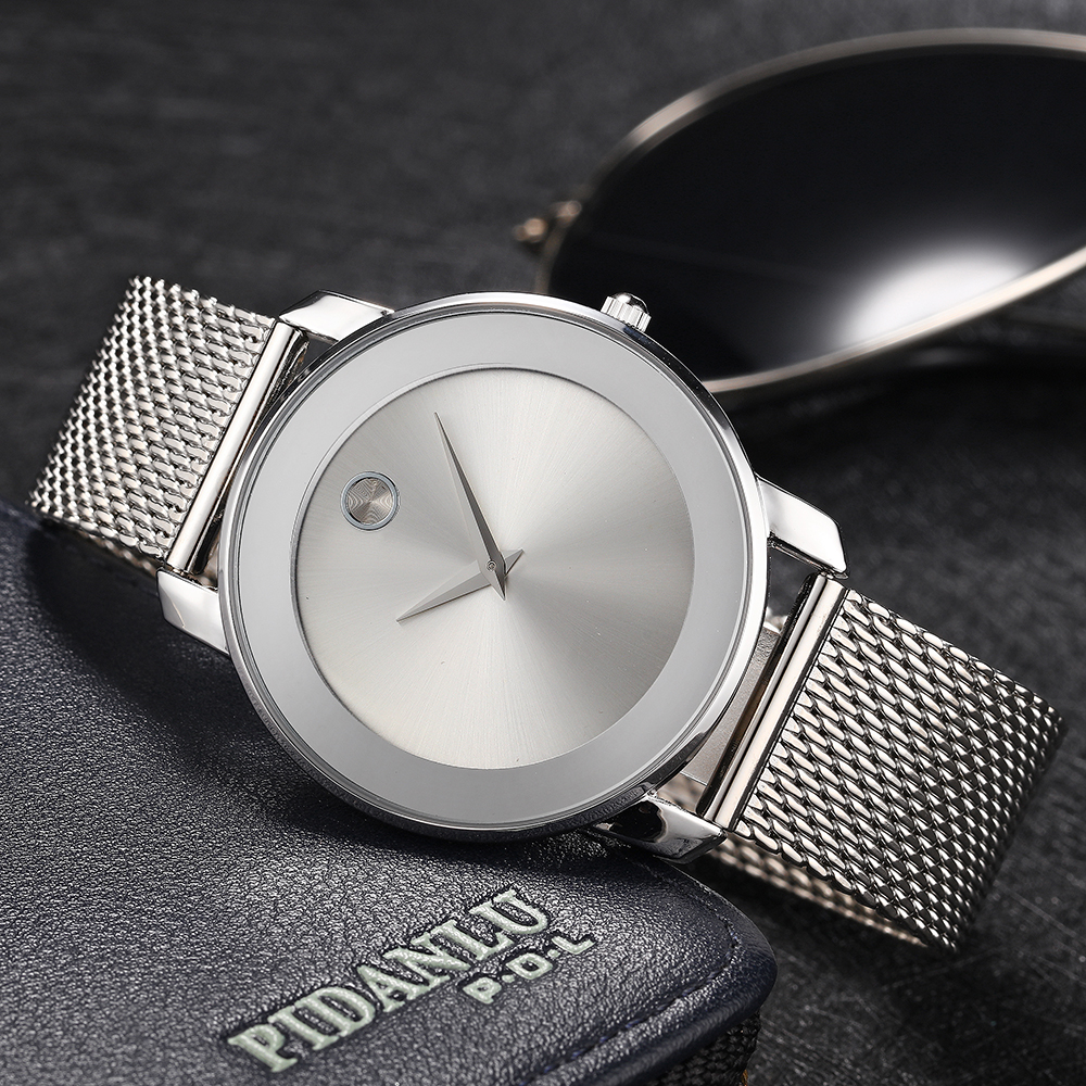 MISSFOX Fashion Mens Business Minimalist Watches Simple White Hot Quartz Watch Stainless Steel Mesh Band Analog Male Clock Hours