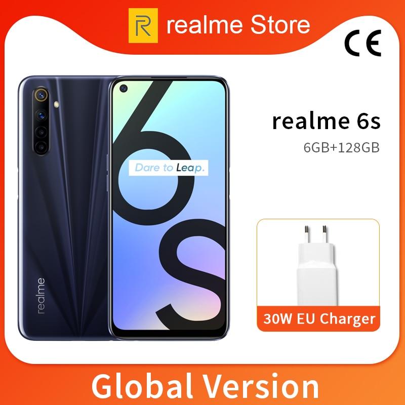 Global Version realme 6s 6GB 128GB Mobile Phone 6.5'' 90Hz Screen 48MP AI Quad Camera 4300mAh 30W Flash Charge NFC Cellphone