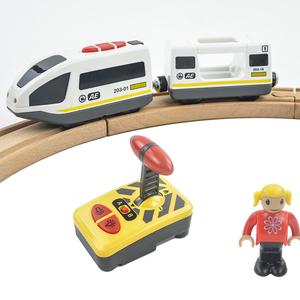 Image 5 - RC Electric Train Set With Carriage Sound and Light  Express Truck FIT Wooden Track Children Electric Toy Kids Toys