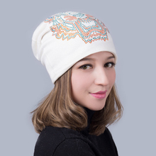Slouchy Beanie Women Hat Winter Knit Autumn Warm Tiger Rhinestone Skiing Outdoor Accessory For Girl Teenagers