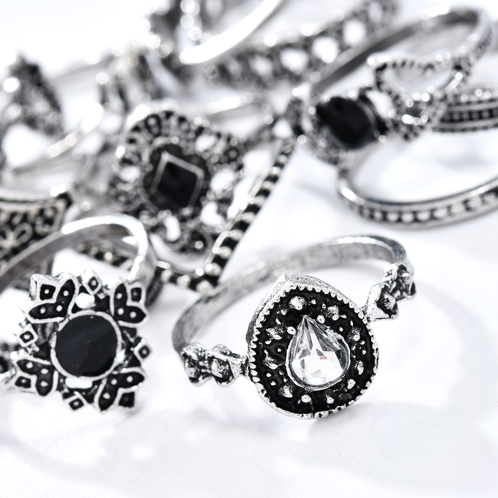 Fashion 10Pcs// Set Silver Boho Vintage Gem Moon Midi Finger Knuckle Rings Gift