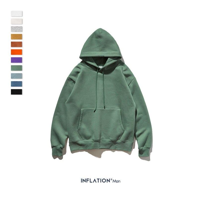 INFLATION 2020 Autumn Mens Thick Fleece Hoodies Hip Hop Pure Hoodies Thick Velvet Fabrics Winter Hoodies For Men Women 167W17