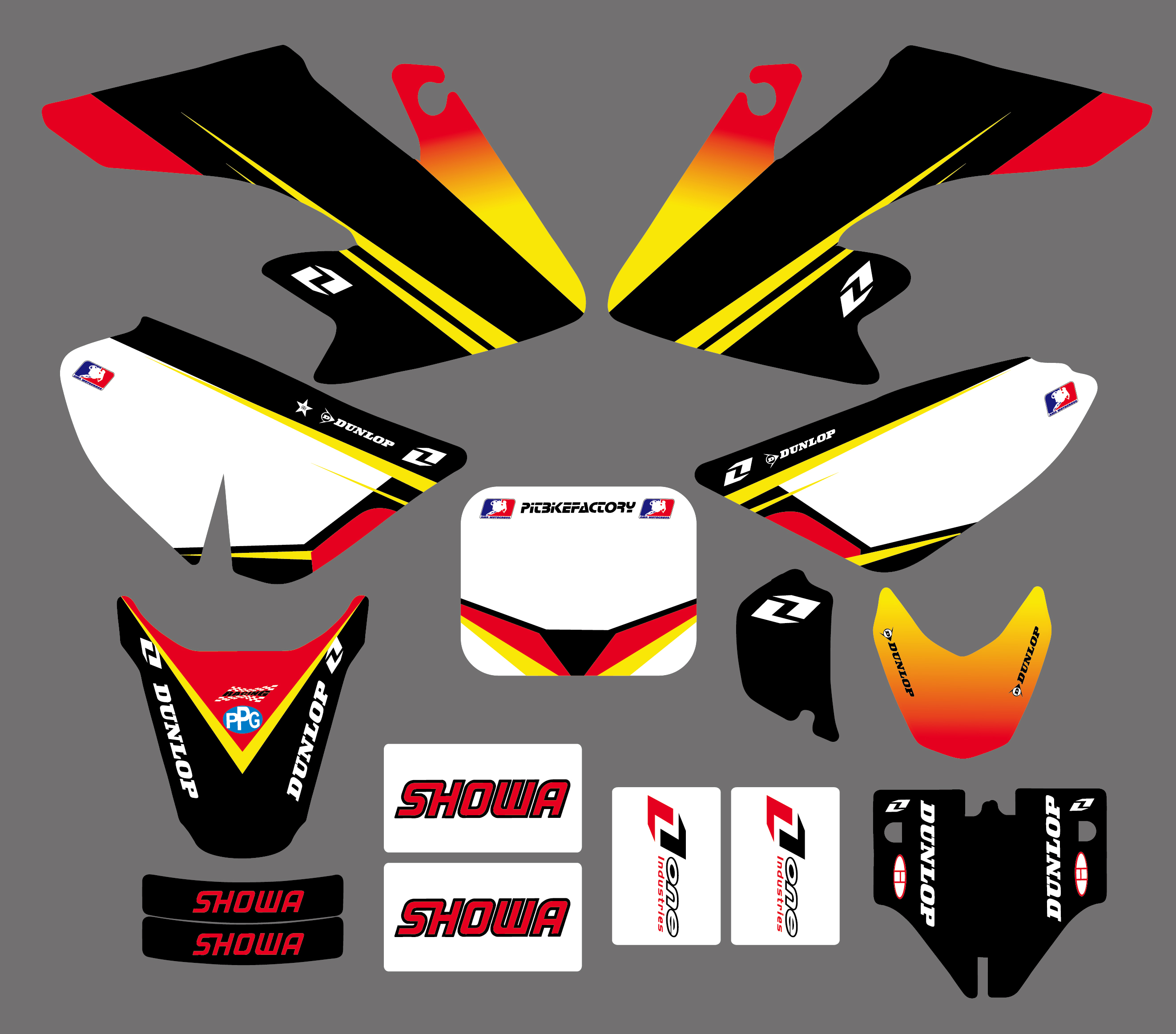 Motorbike TEAM GRAPHICS&BACKGROUNDS DECAL STICKERS Kits For Honda CRF50 CRF50F STYLE Pit Dirt bike(Yellow/White) Pegatina Moto image