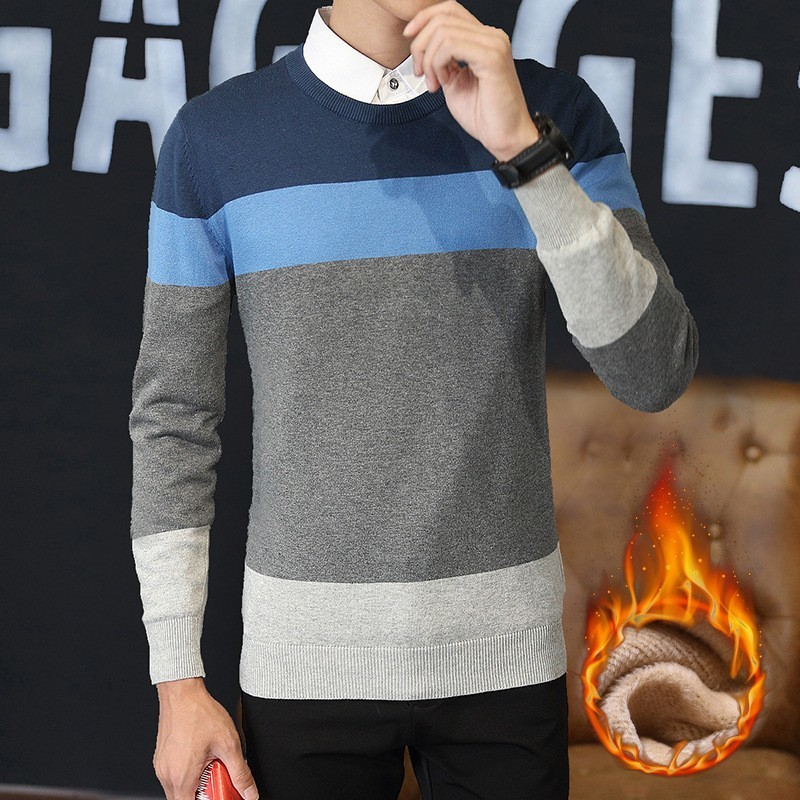Fashion Mens Knit Pullover Jumper Winter Fleece Lining Striped Sweater Slim Fit Male Tops Casual Streetwear School Boys Knitwear