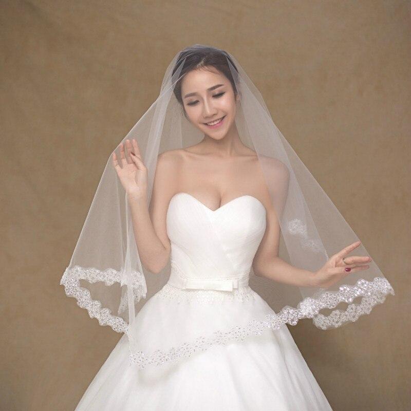1PCS  Marriage Headdress 1.5 Meters Lace Nail Bead Bride Headdress