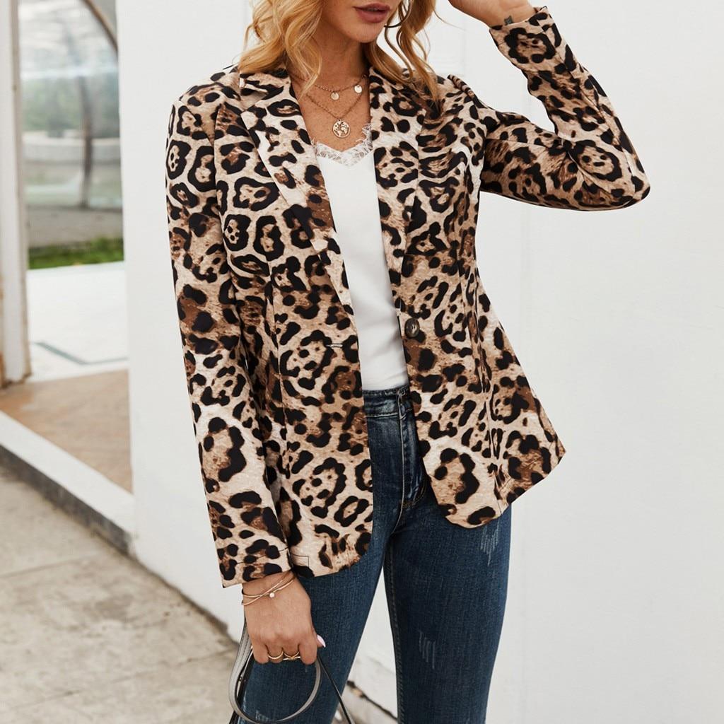 Elegant Women Blazer Jacket Female Casual Slim Fashion Suit Coat Ladies Leopard Print Long Sleeve Chic Cardigan Tops Outwear#J30
