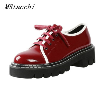 MStacchi Classic Stitching Block Heel Sneakers Women Cross Lace-Up Patent Leather Comfortable Shoes Woman Leisure Shoes
