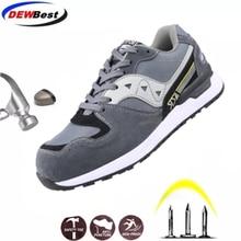 DEWBEST גברים של נעלי בטיחות הבוהן פלדה בנייה הנעלה מגן קל משקל 3D עמיד הלם עבודה Sneaker גברים