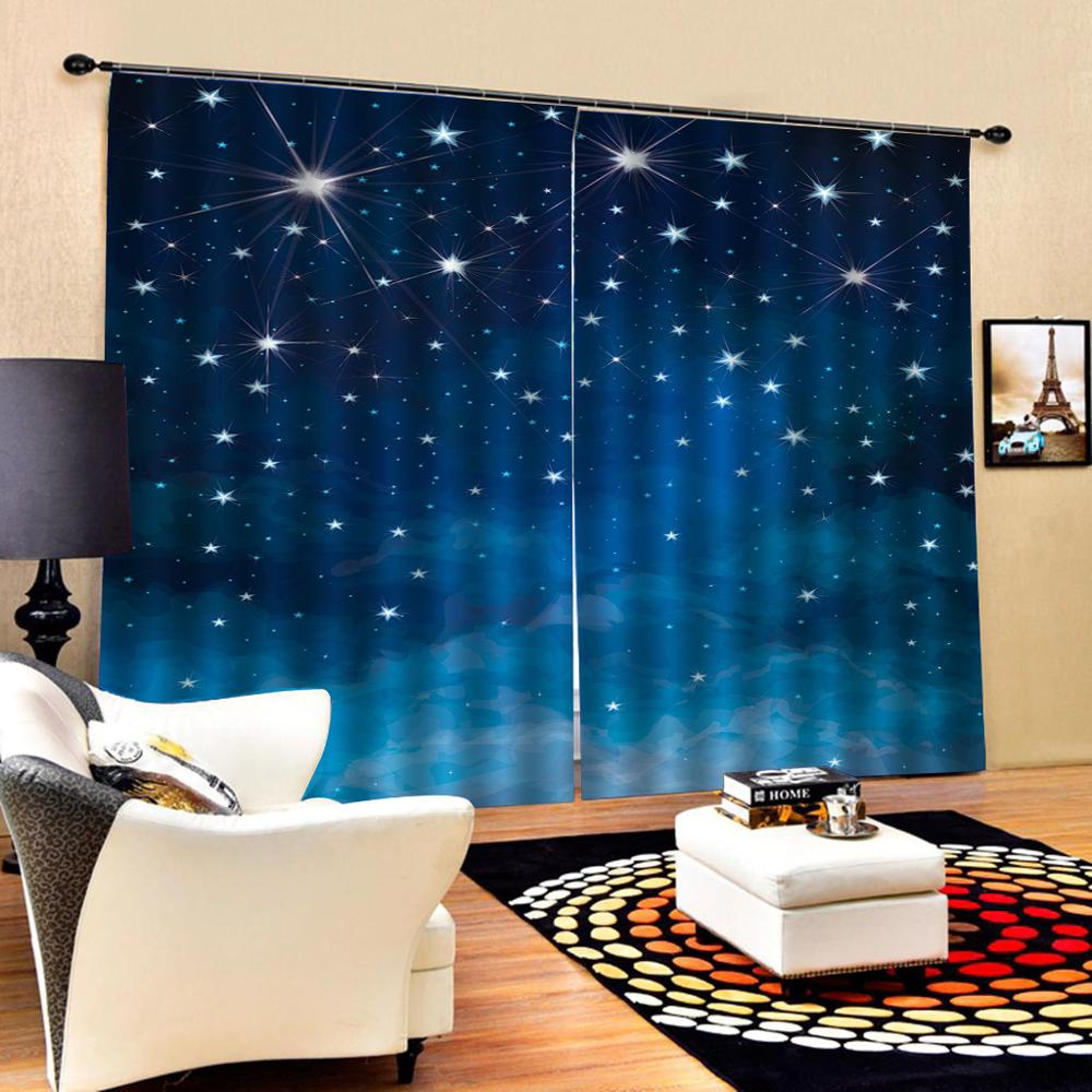 blue star curtains Luxury Blackout 3D Window Curtains For Living Room Bedroom Customized size Decoration curtains