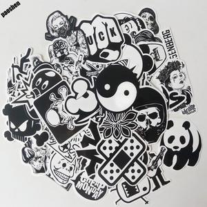 Image 2 - 60 قطعة الأسود والأبيض بارد ملصقات ذاتية الصنع ل سكيت الأمتعة المحمول على الجليد الثلاجة الهاتف لعبة ملصقات ديكور المنزل