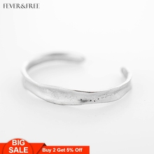 Fever&Free Opening Cuff Silver Bangles For Women Retro Indian Jewelry Delicate Wedding Bracelets & Love Accesorios Mujer