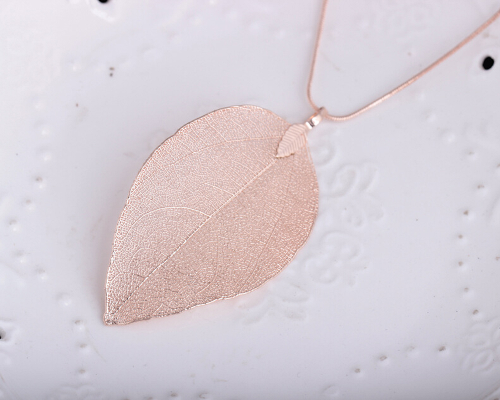 H81a1e6025e9e4718a2f2221508a01792F - Fashion Jewelry Maxi Necklace Rose Gold Color Chain Real Leaf Charm Design Pendant Necklaces & Pendants Women collier femme Gift