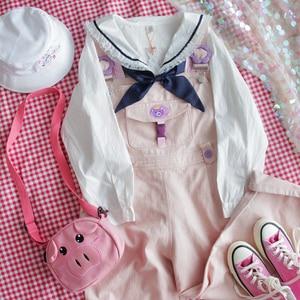 Image 5 - Японские белые рубашки Лолиты, женские винтажные кружевные топы принцессы с рюшами, Подростковая блузка с матросским воротником и пуговицами, милая школьная форма