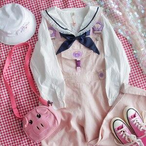 Image 5 - Japan Lolita Weiß Shirts Frauen Vintage Prinzessin Rüsche Spitze Tops Teen Mädchen Sailor Kragen Taste Unten Nette Schuluniform Bluse