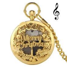 2020 Счастливого Рождества полые музыкальные кварцевые карманные