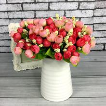 1 bukiet sztuczne małe kwiaty tkanina 15 głów suszone róże kwiaty świąteczne dekoracje jedwabne kwiaty kwitnące sztuczne kwiaty nowość tanie tanio CN (pochodzenie) plastic flowers HG10016 Różany Bukiet kwiatów Ślub Tkanina nietekstylna