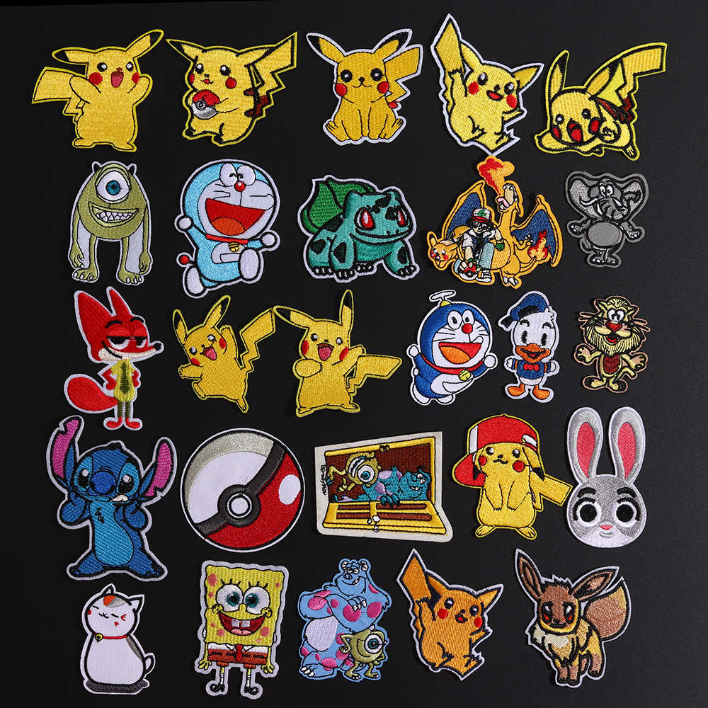 1Pcs Pikachu Pokemon Monster Iron on Patches Movie Game Series Cosplay Costume Embroidered Iron Patches for Clothing Decor