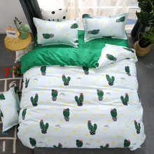Nordic Cactus Printed Polyester Bedding Set Duvet Cover Bed Sheet Pillow Case Full/Queen/King Size Dormitory Bedding Supplies cactus print bedding set
