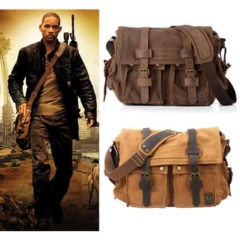 Vintage Leather Canvas Men's Messenger Bag 1