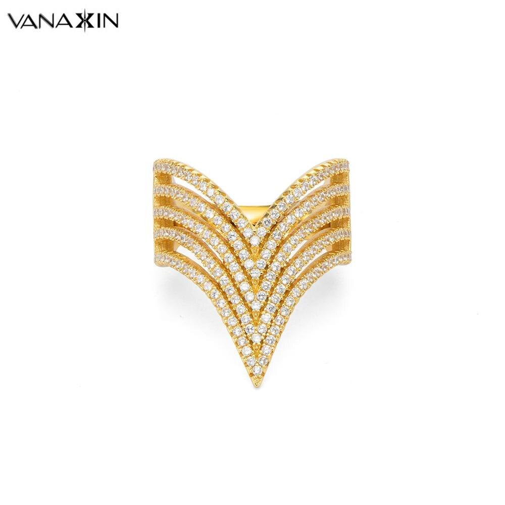 VANAXIN bague en argent 925 pour les femmes V forme anneaux mode grand 925 bijoux en argent Sterling CZ Zircon pierre anneaux pour les femmes de mariage