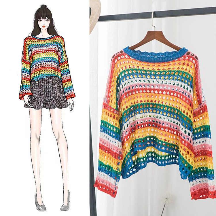 2019 חדש קשת פסים סוודר נשים אופנה מגמת עגול צוואר סוודר רופף נוח סרוג סוודר