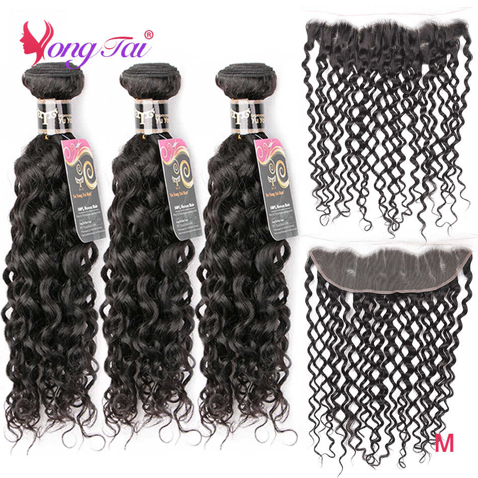YuYongtai Hair Brazilian Water Wave 3 Bundles With Lace Front Non-Remy Human Hair Weave 13x4Lace Front With Bundles Medium Ratio