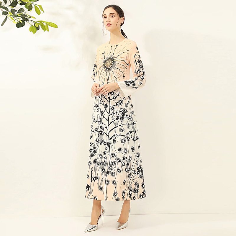 Long Dress High Quality Spring 2020 New Women'S Fashion Party Casual Vacation Vintage Elegant Chic Print Loose Chiffon Dresses image