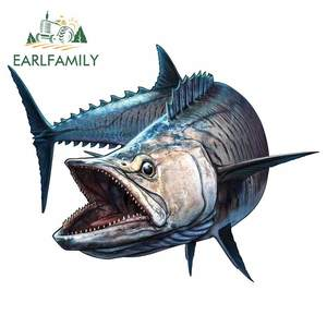 EARLFAMILY 13cm x 10.3cm Car Sticker Shark Fish Fishing Boat Rod Truck Sea Bass Automobiles Motorcycles Spanish Mackerel Decals