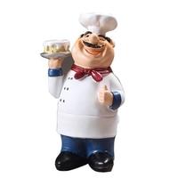 Promocja! Retro Chef ozdoby modelowe rzemiosło żywiczne Mini Chef figurki strona główna kuchnia restauracja/bar Coffee Decor C na