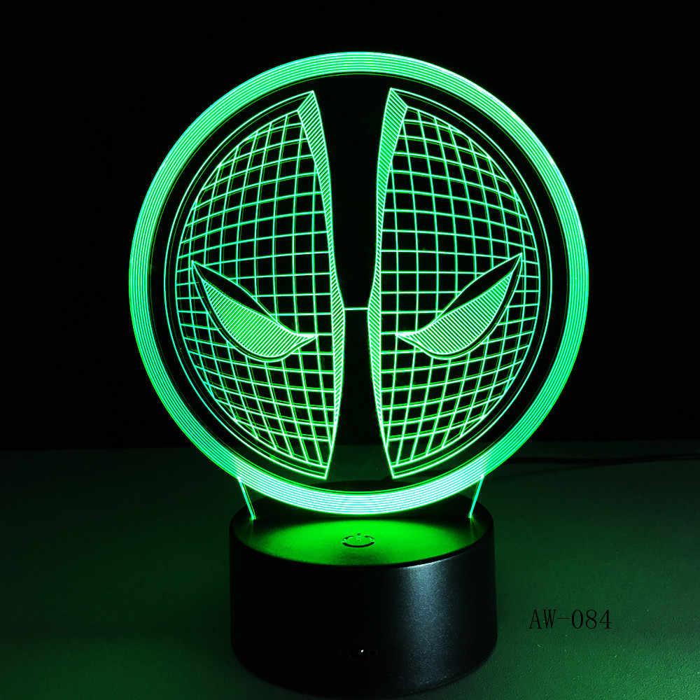 Deadpool Máscara de Lâmpada do Logotipo da Cara 3D Estéreo Acrílico Ilusão LED Do Feriado Do Natal Presente 7 Cores Night Light Home Office Deco AW-084
